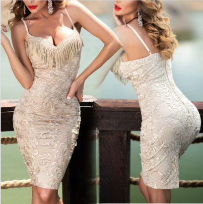 Women's Sexy Deep V Tassel Package Hip Sleeveless Sling Dress Nihaostyles Wholesale Clothing NSYIS80772