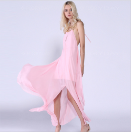 Autumn Women's Halterneck Backless Strap Pink Flowing Dress Nihaostyles Wholesale Clothing NSYIS80763