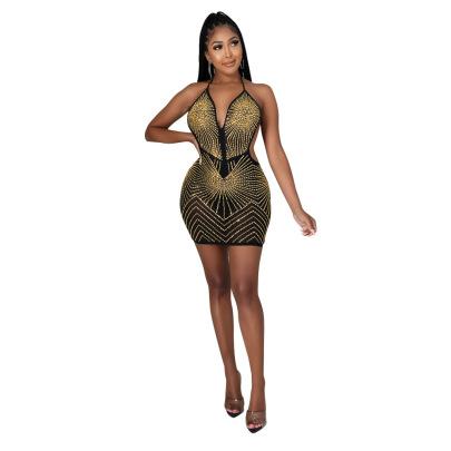 Women's V-neck Rhinestone Halter Dress Nihaostyles Clothing Wholesale NSCYF80205