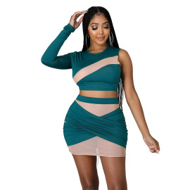 Women's Slim Strapless Contrast Two-piece Suit Nihaostyles Clothing Wholesale NSCYF80206