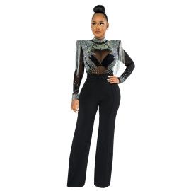 Women's Slim High Collar Rhinestone Tassel Jumpsuit Nihaostyles Clothing Wholesale NSCYF80207