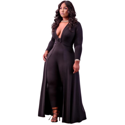 Women's V-neck Solid Color Slim Plus Size Jumpsuit Nihaostyles Clothing Wholesale NSCYF80208