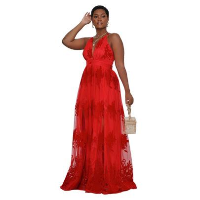 Women's V-neck Halter Sling Embroidery Net Plus Size Pure Color Dress NSCYF80209