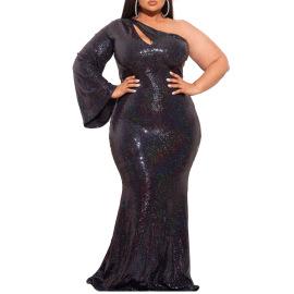 Women's Oblique Shoulder Plus Size Dress Nihaostyles Clothing Wholesale NSCYF80210