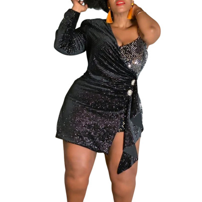 Women's Flannel Sequin Twill Plus Size Dress Nihaostyles Clothing Wholesale NSCYF80211