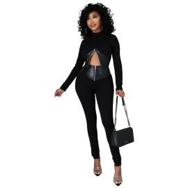 Women's High Collar Long-sleeved Zipper Top With Slim Pants Set Nihaostyles Clothing Wholesale NSCYF80213