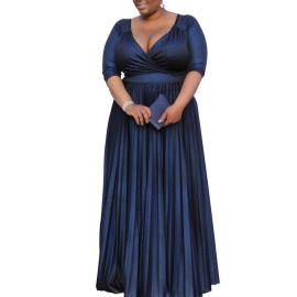 Women's V-neck Pleated Plus Size Dress Nihaostyles Clothing Wholesale NSCYF80214