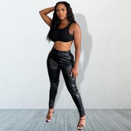 Women's Plus Size Leather High-waist Pants Nihaostyles Clothing Wholesale NSMFF80218