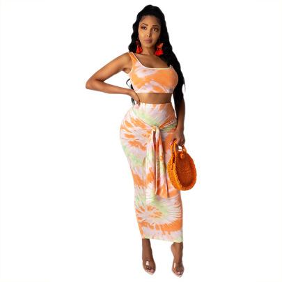 Women's Tie-dye Printing Vest Skirt Suit Nihaostyles Clothing Wholesale NSMFF80219