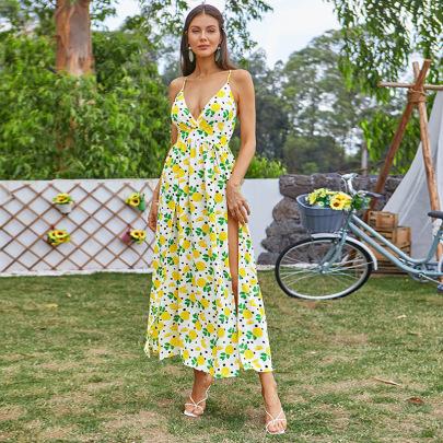 Women's Floral High Slit Halter Dress Nihaostyles Clothing Wholesale NSWX80223