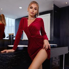 Women's Velvet Long-sleeved V-neck Dress Nihaostyles Clothing Wholesale NSWX80226