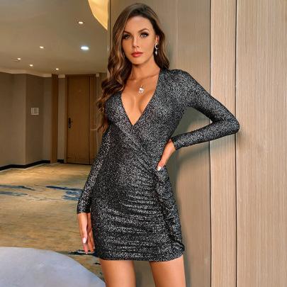 Women's Mercerized V-neck Long-sleeved Slim Dress Nihaostyles Clothing Wholesale NSWX80238