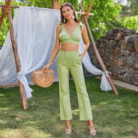 Women's Lace-up Short Vest Wide-leg Straight-leg Pants Suit Nihaostyles Clothing Wholesale NSWX80242
