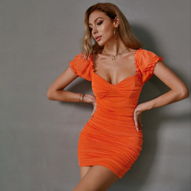 Women's Pleated Chest Wrap Tight-fitting Dress Nihaostyles Clothing Wholesale NSWX80243