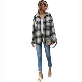 Women's Loose Plaid Shirt Jacket Nihaostyles Clothing Wholesale NSJM80246