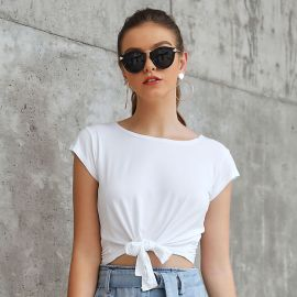 Women's Knotted Pure Color Crew Neck Short Sleeve T-Shirt Nihaostyles Clothing Wholesale NSJM80247