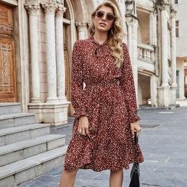 Women's Long-sleeved Round Neck Waist Slim Printed Dress Nihaostyles Clothing Wholesale NSJM80248