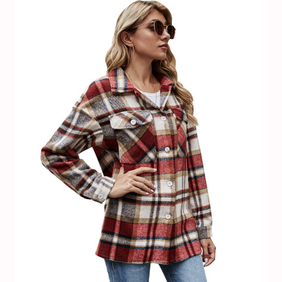Women's Lapel Loose Plaid Jacket Nihaostyles Clothing Wholesale NSJM80249