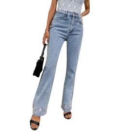 Women's Slim Straight Butterfly Pattern Jeans Nihaostyles Clothing Wholesale NSJM80251