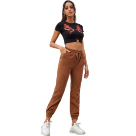 Women's Corduroy High Waist Trousers Nihaostyles Clothing Wholesale NSJM80253