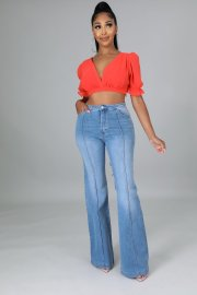 Women's Elastic Bootcut Jeans Nihaostyles Clothing Wholesale NSTH80259