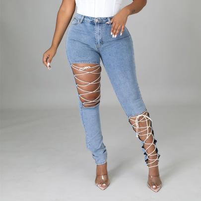 Women's Elastic Hole Bandage Jeans Nihaostyles Clothing Wholesale NSTH80262