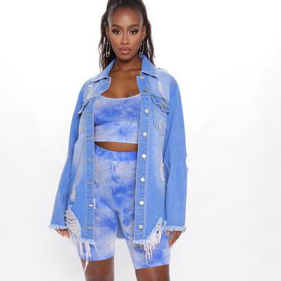 Mid-length Ripped Slim Denim Jacket Nihaostyles Clothing Wholesale NSTH80269