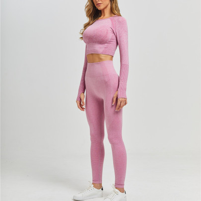 Women's Tight-fitting Long-sleeved High-waist Hip-lifting Trousers Yoga Suit Nihaostyles Clothing Wholesale NSXER80279