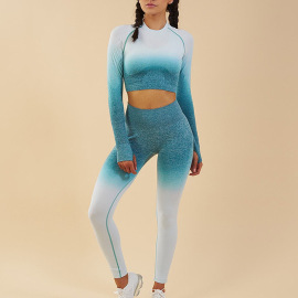 Women's Gradient Color Long-sleeved Quick-drying Top Yoga Pants Set Nihaostyles Clothing Wholesale NSXER80284