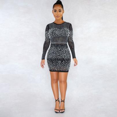 Round Neck Long-sleeved Rhinestone Skirt Nihaostyles Clothing Wholesale NSCYF80288