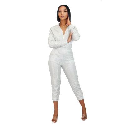 Women's Long-sleeved Shirt Slim Pants Sequins Two-piece Set Nihaostyles Clothing Wholesale NSCYF80289