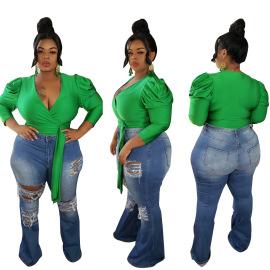 Women's Long-sleeved V-neck Short Top Nihaostyles Clothing Wholesale NSCYF80290