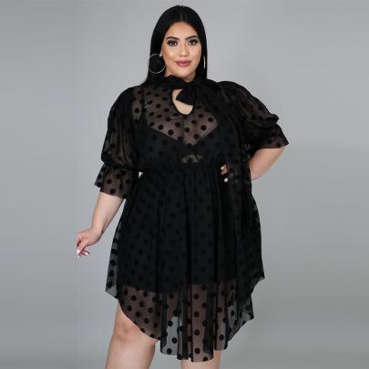 Women's Plus Size Polka Dot Mesh Dress Nihaostyles Clothing Wholesale NSCYF80292