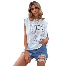 Women's Round Neck Sleeveless Pattern Printed Pullover T-shirt NSJM80298