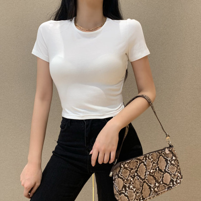 Women's Halter Strap Short-sleeved T-shirt Nihaostyles Clothing Wholesale NSFLY80321
