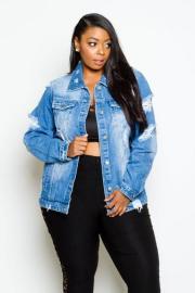 Women's Letter Print Frayed Denim Jacket Nihaostyles Clothing Wholesale NSTH80324