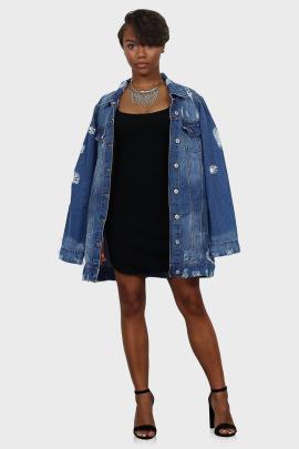 Women's Mid-length Frayed Denim Jacket Nihaostyles Clothing Wholesale NSTH80327