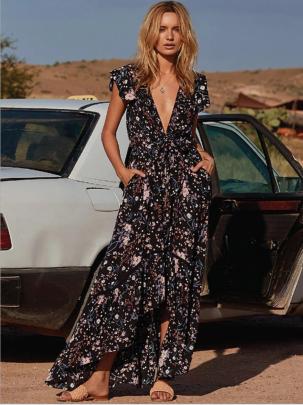 Women's Deep V Sleeveless Printed Dress Nihaostyles Wholesale Clothing NSYIS80761