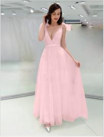 Autumn And Winter Women's Deep V Sleeveless Pink Slim Dress Nihaostyles Wholesale Clothing NSYIS80749