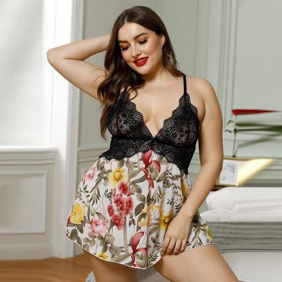 Women's V-neck Lace Stitching Plus Size Lingerie Nihaostyles Clothing Wholesale NSMDS76973