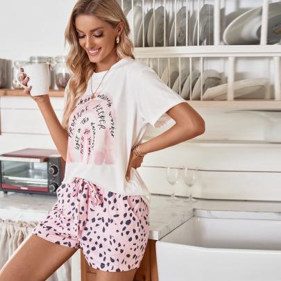 Round Neck Short-sleeved Leopard Print Shorts Cartoon Pattern Pajamas Set Nihaostyles Clothing Wholesale NSMDS76978