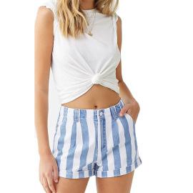 2021 Spring Striped High-waisted School Girl Jeans Amazon Ebay Stand-alone Wish Wide Leg Denim Shorts NSYB77022