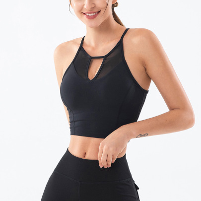 Women's V-neck Mesh Yoga Bra Nihaostyles Clothing Wholesale NSSMA77032