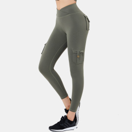 Women's High Elasticity High Waist Yoga Pants With Pockets Nihaostyles Clothing Wholesale NSSMA77036