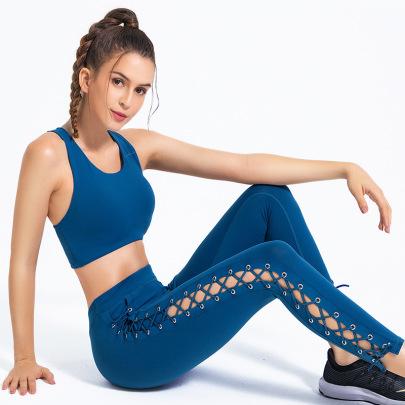 Women's Strappy Hollow Vest Sports Pants Yoga Suit Nihaostyles Clothing Wholesale NSSMA77039