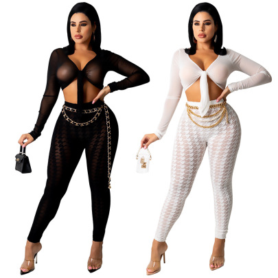 Women's Houndstooth Mesh V-neck Top And Trousers Two-piece Suit Nihaostyles Clothing Wholesale NSTYF77058