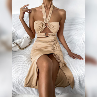 Women's Drawstring Pleated Halter Dress With Resin Ring Nihaostyles Clothing Wholesale NSXPF77062