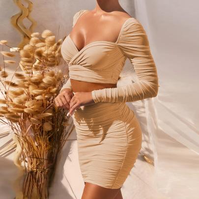 Women's Skirt Low-cut Fleece Top Two-piece Suit Nihaostyles Clothing Wholesale NSXPF77065