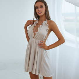 Women's Sling V-neck Ruffled Loose Pleated Dress Nihaostyles Clothing Wholesale NSXPF77066