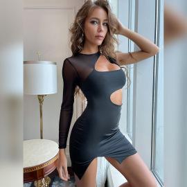 Women's Long-sleeved Mesh Stitching Round Neck Hollow Dress Nihaostyles Clothing Wholesale NSXPF77067